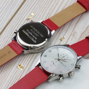 Colourful Personalised Chronograph Watch - Venetian Red Strap