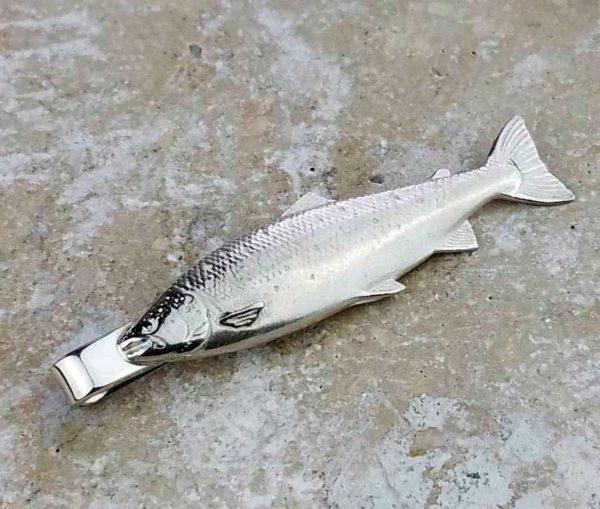 Silver Salmon Tie Slide