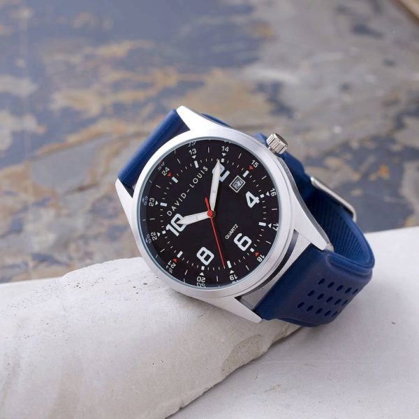 Personalised & Customised Mens Watch with Blue Strap. FREE Personalisation Engraving