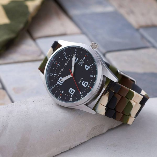 Personalised & Customised Mens Watch with Camouflage Strap. FREE Personalisation Engraving.