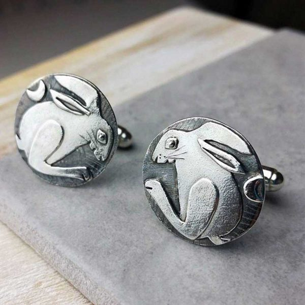 Irish Hare Silver Cufflinks - Handmade Hare Cufflinks in Hallmarked 925 Silver with Cufflink Box