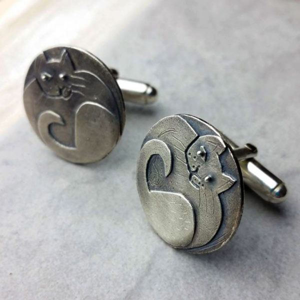 Cat Cufflinks In Silver