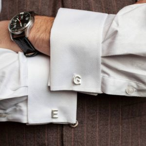 Alphabet Cufflinks For Men in Silver. Personalised Cufflinks for Him.