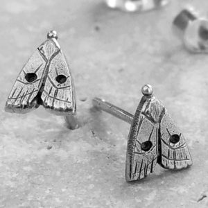 Silver Moth Stud Earrings