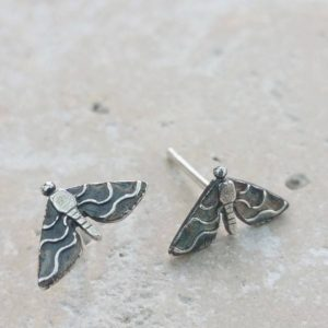 Moth Silver Stud Earrings
