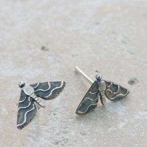 Moth Silver Stud Earrings
