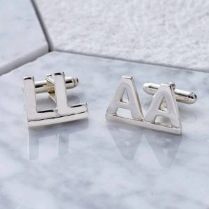 Initial Cufflinks For Men in Silver. Personalised Cufflinks for Him.