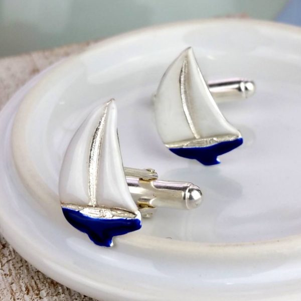 Enamelled Silver Sailing Cufflinks