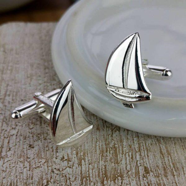 Silver Sailing Boat Cufflinks on ShopStreet.ie