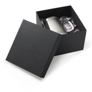 Black satin lined tankard presentation box with lift off lid