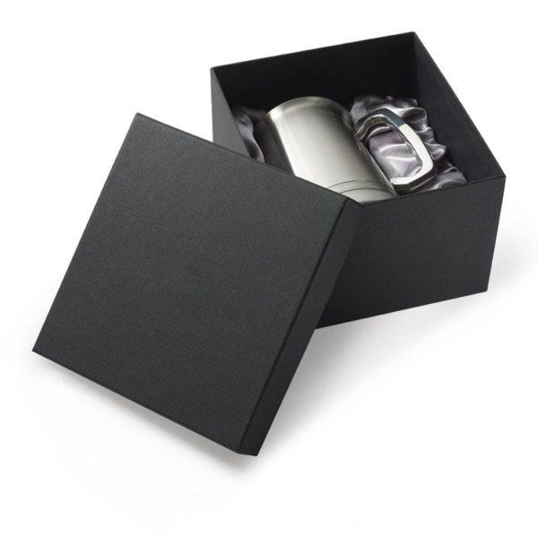 Black satin lined tankard presentation box with lift off lid