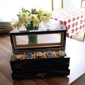 Gents Wooden Watch Storage Box With Cufflink Drawer