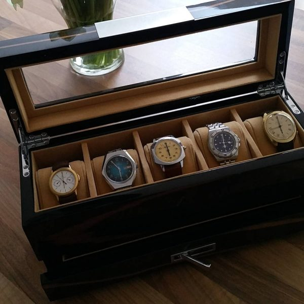 Gents Wooden Watch Storage Box With Cufflink Drawer
