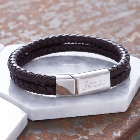 Personalised Men's Leather Bracelet with FREE ENGRAVING