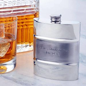Satin Stripe Personalised Hip Flask With Free Engraving