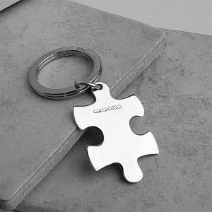 Personalised Jigsaw Keyring In Silver on ShopStreet.ie Silver Keyrings