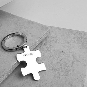 Personalised Jigsaw Keyring In Silver on ShopStreet.ie Silver Keyrings