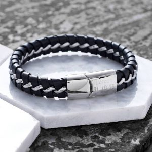 Personalised Leather Bracelet For Men with FREE ENGRAVING. Black Leather with Metal. - ShopStreet.ie Leather Bracelets for Men
