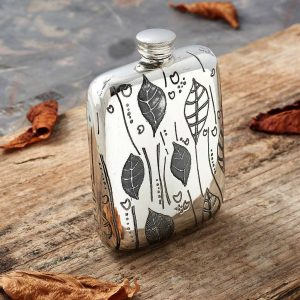 Leaf Nature Personalised Hip Flask with FREE Engraving. Handmade in Pewter. ShopStree.ie Engraved Hip Flasks.