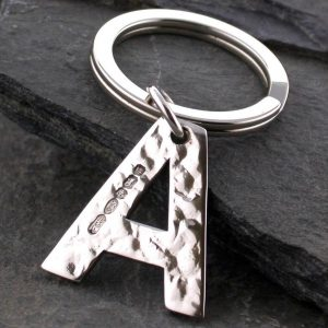 Alphabet Initial Keyring in Silver - ShopStreet Alphabet Initial Keyring in Hammered Silver - ShopStreet Silver Personalised Keyrings