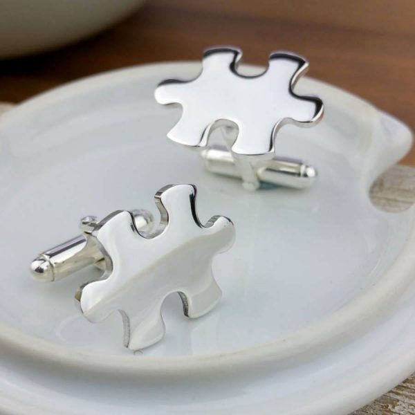 Personalised Jigsaw Cufflinks In Silver on ShopStreet.ie Silver Cufflinks