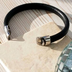 Mens Leather Bracelet In Black Personalised with FREE ENGRAVING - ShopStreet.ie Leather Bracelets for Men
