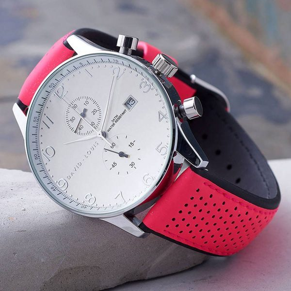 Active Chronograph Watch with Pink Strap - Free Watch Personalisation and Engraving