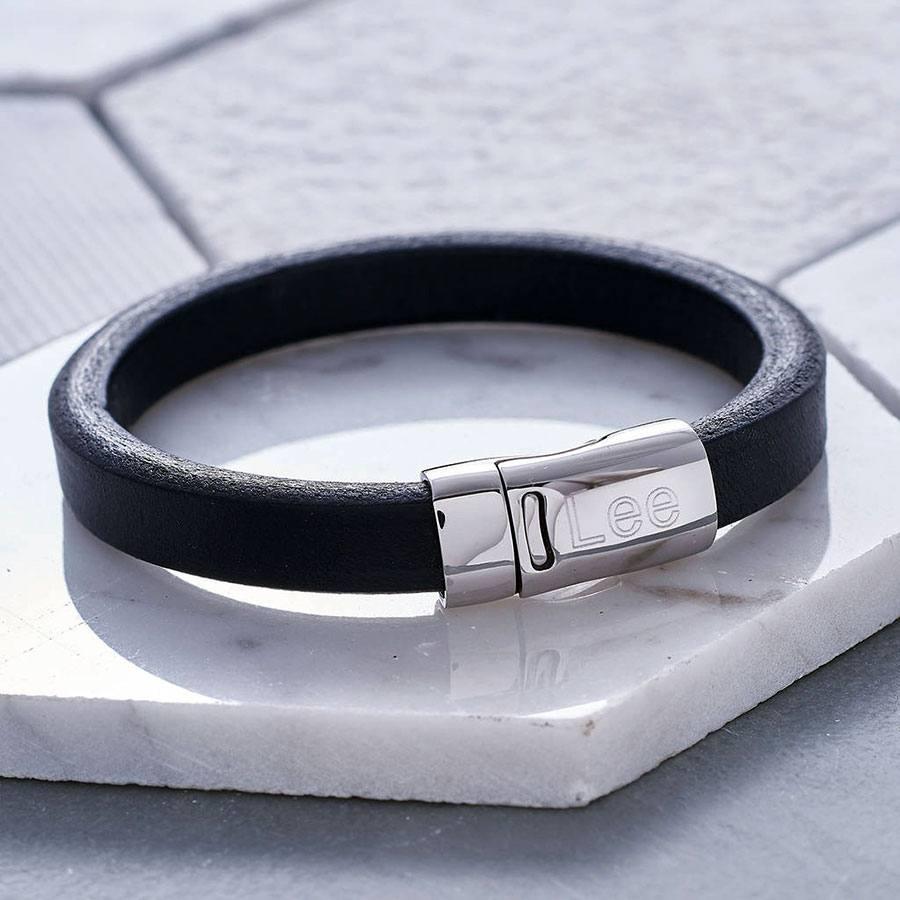 Mens Leather Bracelet In Black Shopstreet Ie Leather