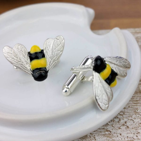 Handmade Bumble Bee Cufflinks In Hallmarked Silver. ShopStreet.ie Silver Cufflinks.