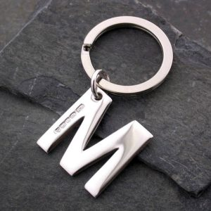 Alphabet Initial Keyring in Hammered Silver - ShopStreet Silver Personalised Keyrings