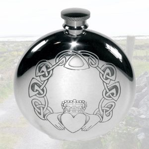 Claddagh Hip Flask Personalised and Presentation Box For Irish Wedding. Free engraving on our Claddagh Hip Flask.