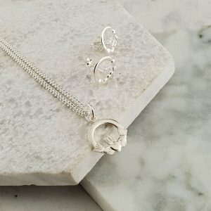 Childrens Claddagh Pendant & Earrings Communion & Confirmation Gift In Silver. Handcrafted Galway Claddagh Pendant & Earrings for Children in Hallmarked Silver on ShopStreet.ie Claddagh Communion Gifts & Confirmation Gifts.