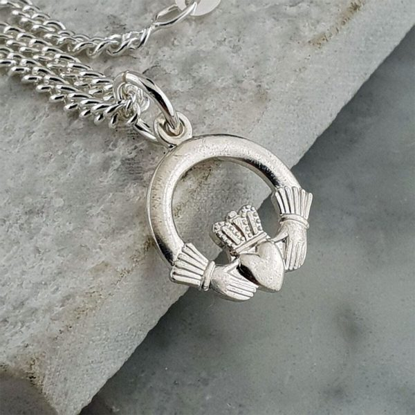 Silver Claddagh Pendant In 925 Silver. Handcrafted Galway Claddagh Pendant for Ladies in Hallmarked 925 Silver on ShopStreet.ie Claddagh Pendants
