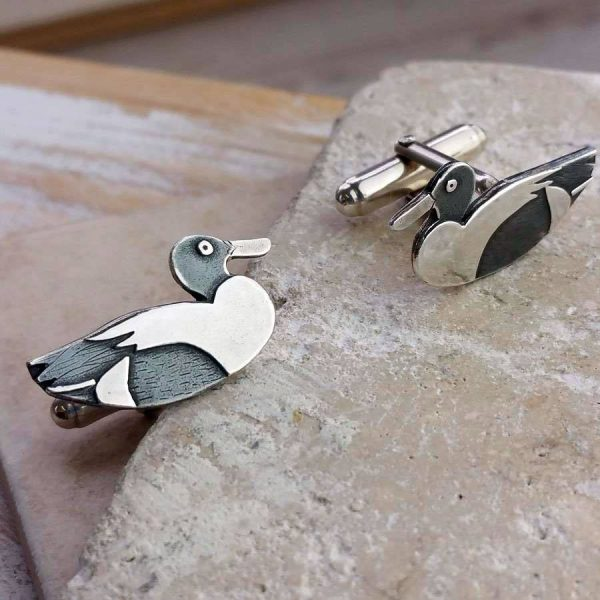 Duck Cufflinks In Silver- Handmade Silver Duck Cufflinks in Hallmarked 925 Silver with Cufflink Box