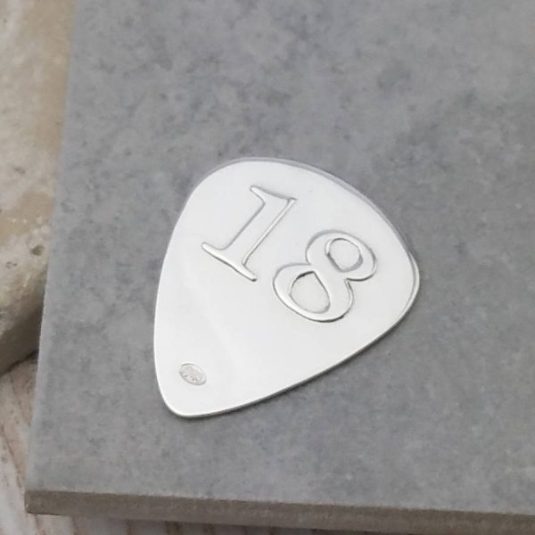 Custom Guitar Pick For 18th Birthday In Silver - ShopStreet.ie Gifts For Guitar Players