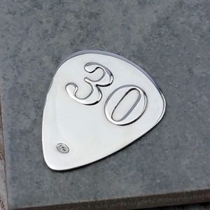 Custom Guitar Pick For 30th Birthday In Silver - ShopStreet.ie Gifts For Guitar Players