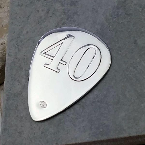 Custom Guitar Pick For 40th Birthday In Silver - ShopStreet.ie Gifts For Guitar Players