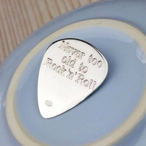 Rock 'n' Roll Silver Custom Guitar Pick In Sterling Silver Personalised With Engraved Message. Handmade & Hallmarked Gift For Guitarist & Guitar Players