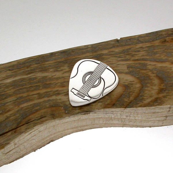 Custom Acoustic Guitar Pick In Sterling Silver Personalised With Engraved Message. Handmade & Hallmarked Acoustic Guitar Gift For Guitar Players.
