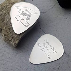 Graduation Custom Guitar Pick In Sterling Silver Personalised With Engraved Message. Handmade & Hallmarked Graduation Gift For Guitarist & Guitar Players