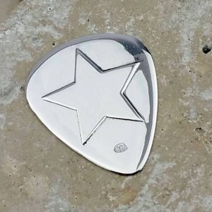 Silver Star Custom Plectrum Guitar Pick In Sterling Silver Personalised With Engraved Message. Handmade & Hallmarked Guitar Gift For Guitar Players.