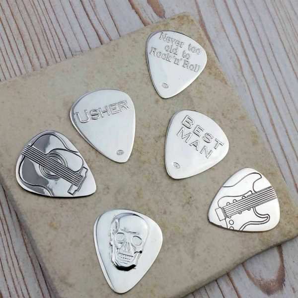 Personalised Wedding Guitar Pick In Sterling Silver For Best Man & Wedding Usher. Personalised With Engraved Message. Handmade Guitar Gift For Guitar Players
