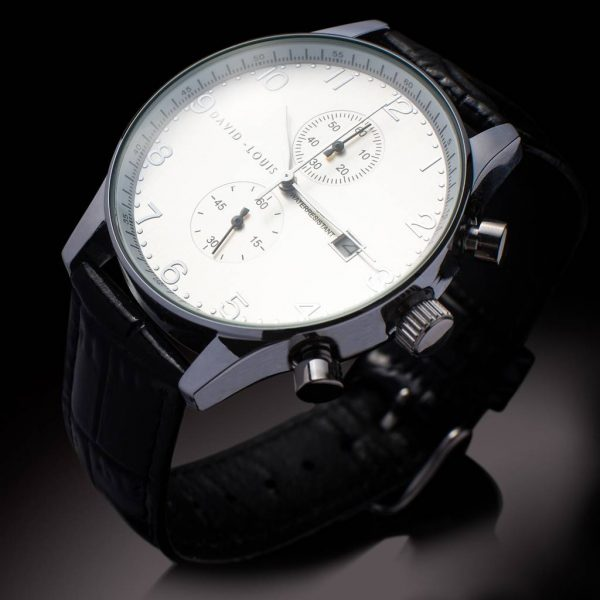 Personalised Chronograph Watch For Men with Black Leather Embossed Strap with Free Engraving. Mens Chronograph can be engraved with a personal message