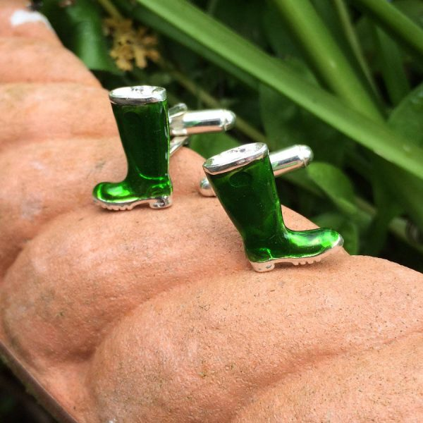 Gardener & Farmer Silver Welly Cufflinks For Men. Enamelled, Hallmarked Sterling Silver, Handmade Cufflinks For Farmers & Cufflinks For Gardeners. Enamelled Silver Welly Cufflinks with Gift Wrapping.
