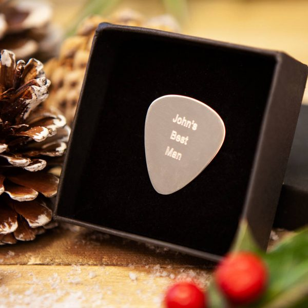 Personalised Silver Guitar Pick In Sterling Silver Personalised With Engraved Message. Silver Guitar Picks Handmade & Hallmarked Guitar Gift For Guitar Players