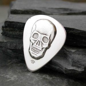 Personalised Skull Guitar Pick In Sterling Silver Personalised With Engraved Message. Personalised Skull Guitar Pick Handmade Guitar Gift For Guitar Players