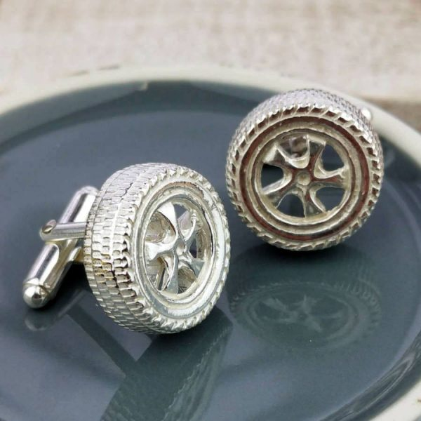 Classic Car Wheel Silver Cufflinks For Men & Car Enthusiasts, Hallmarked Silver, Handmade by our Silversmithing & Cufflink team