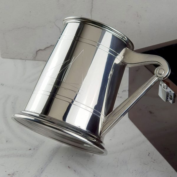 Personalised Galway Hooker Tankard. Irish Galway Hooker Sailboat Tankard with Hooker Engraving, Irish Harp Handle, Glass Bottom & Nautical Case - Ireland & Irish Gift Idea