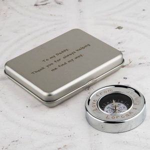 Personalised Desk & Pocket Compass with Presentation Box. Free Engraving on both Compass and Compass Presentation Box with Gift Wrapping.