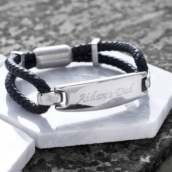 Explorer Black Leather Bracelet - Personalised Leather Bracelet For Men. Engraved Message Personalised Free. Handmade leather bangle personalised gift for men.